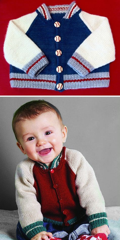 Free Knitting Pattern For Baby Baseball Jacket Long Sleeved Baby