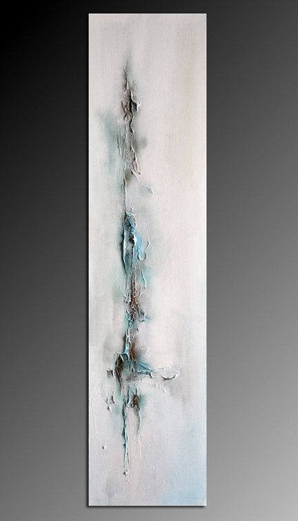 "Icicle 2 - winter textured original modern abstract oil painting 8""x31"" on Etsy, $180.00"