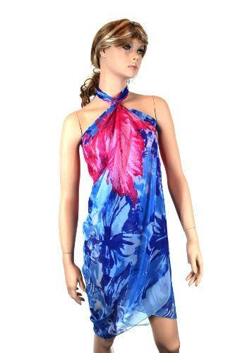 Abstract FloralSarong in Blue and Pink Noonies. $21.99