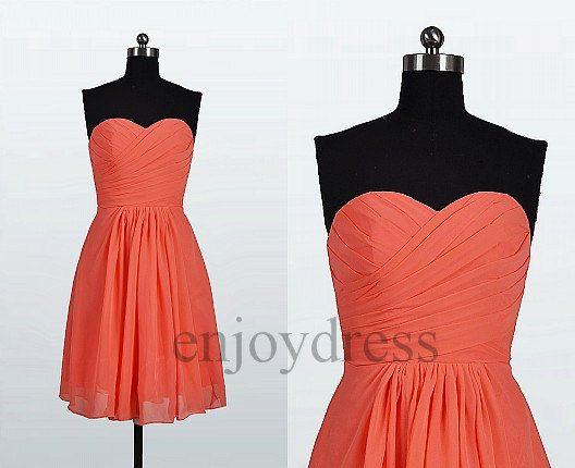 Custom Watermelon Red Short Bridemaid Dresses 2014 by enjoydress, $62.00