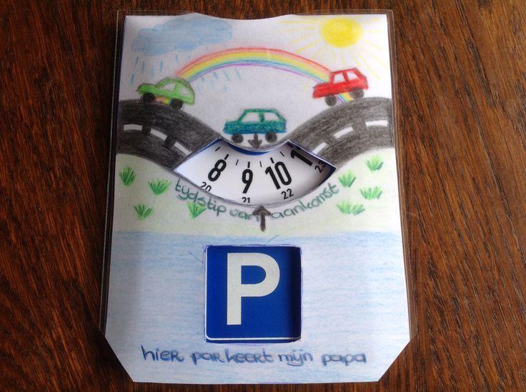 Voor vaderdag een hoesje gemaakt voor een parkeerschijf