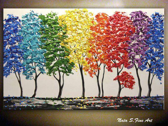 Large Landscape Art Abstract Forest Painting Colorful Tree Painting Textured Tree Art Modern Forest Art Rainbow Forest Art By Nata S Pintura De Margarita Pintura De Amapolas Arboles Pintados