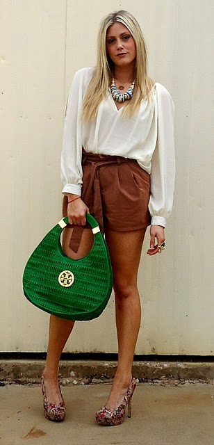 LOVE this top and the green Tory Burch purse is amazing