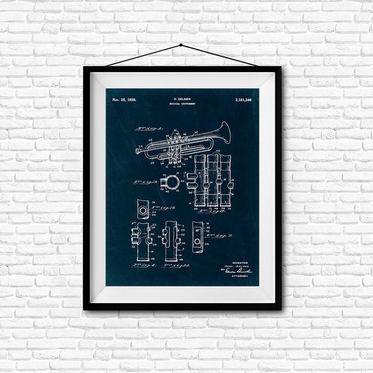 Musical Instrument Patent Print- 1939 - Poster Wall art Illustration Print Art…