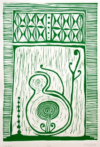 Cerisse Palalagi, Wikitoria, Relief/Lino on 250 x 305 mm paper, from an edition of 20, 2009. NZ$245 incl GST.