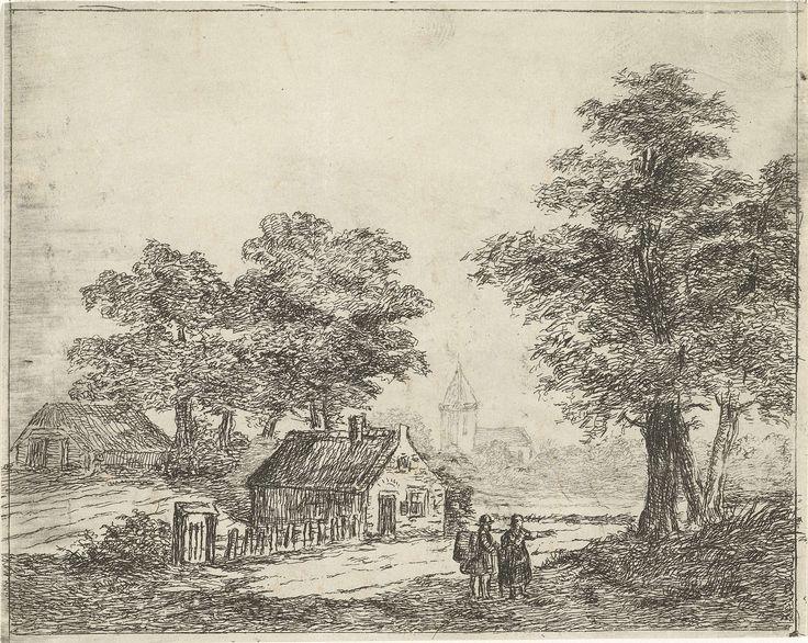 David van der Kellen (II) | Landschap met wandelaars, David van der Kellen (II), 1814 - 1879 | Een man en een vrouw lopen over een pad met bomen en twee huizen. Op de achtergrond is een kerktoren te zien.