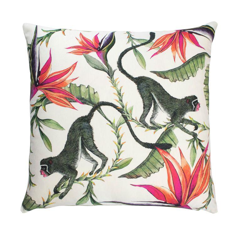Monkey Paradise 100% silk cushion in Chalk