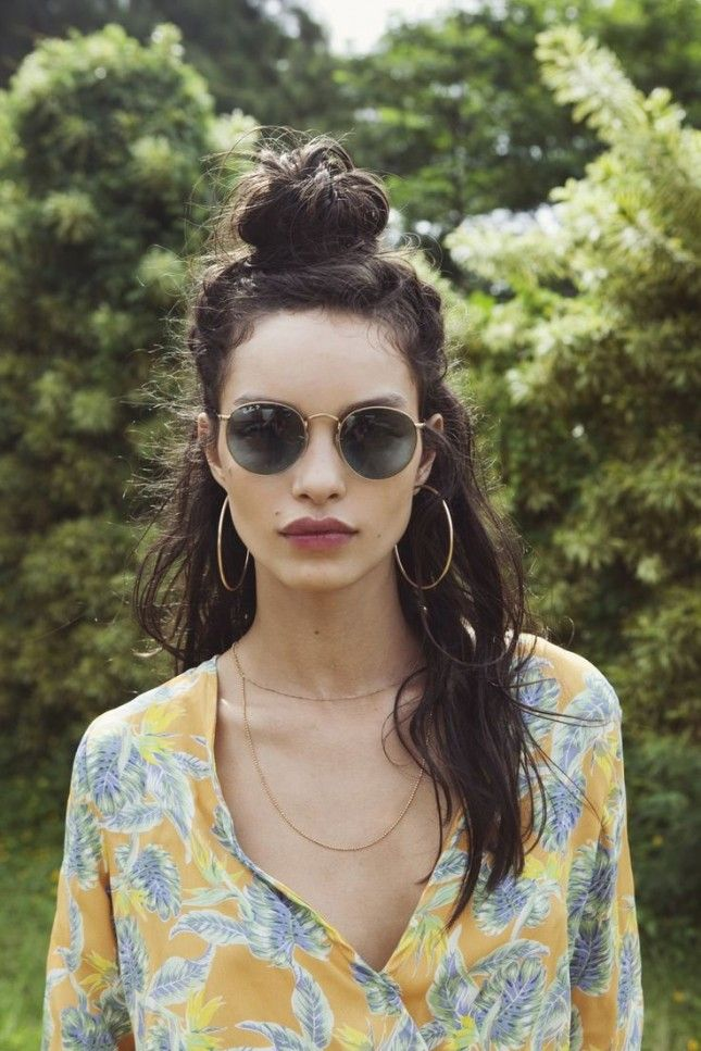 Style your hair into an easy half-up top knot.