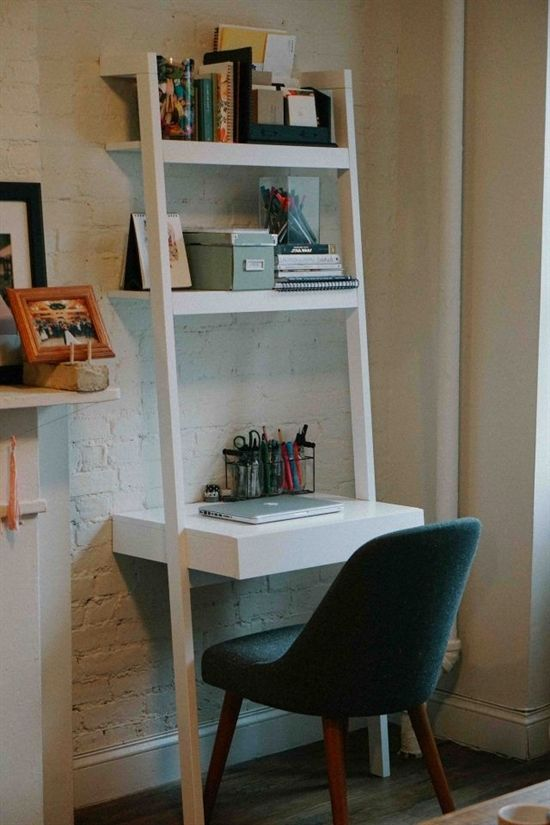 Home Office Leaning Desk In A Small Apartment Nyc Decor Homeofficedesk