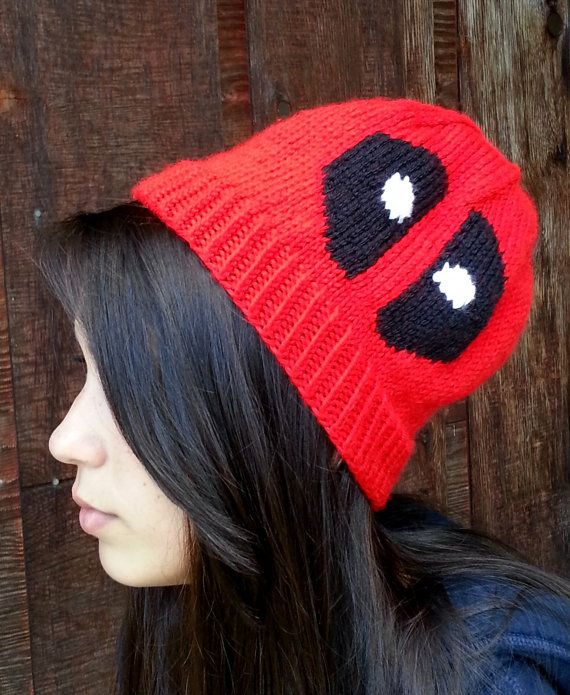 Deadpool knitted beanie! Handmade, soft beanie of the sarcastic assassin comic book and video game character for sale on etsy.