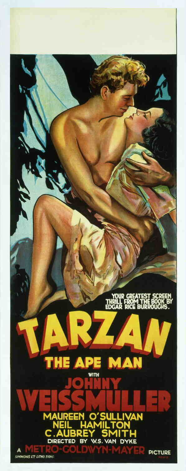 TARZAN, THE APE MAN (1932), original-release American movie poster for MGM. Insert poster featuring Johnny Weissmuller as Tarzan and Maureen O'Sullivan as Jane Parker.