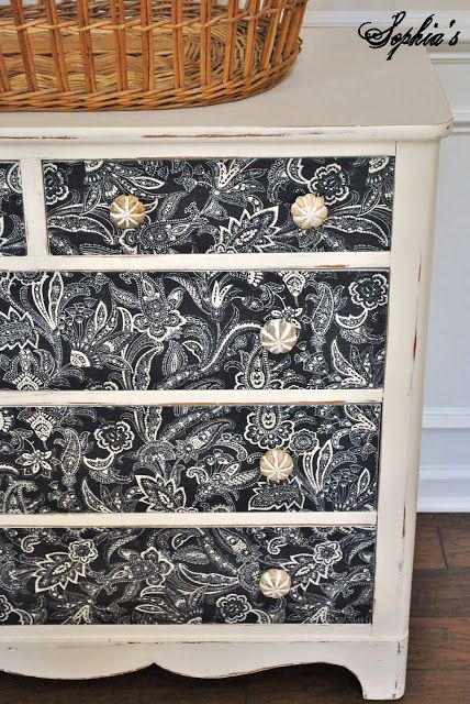 Sophia's - Annie Sloan Old White Chalk Paint with fabric-covered drawer fronts sealed with Mod Podge
