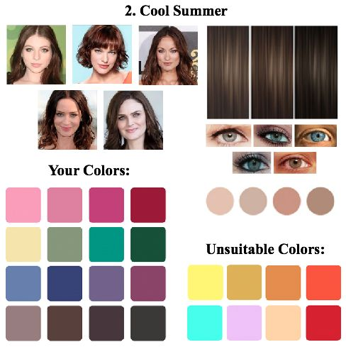 "Cool Summer Color Type: Intermediate between the color type ""summer"" and ""winter"". Freezing, cold and the most contrasting summer type."