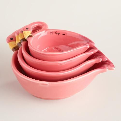 Ceramic Flamingo Measuring Cups | World Market