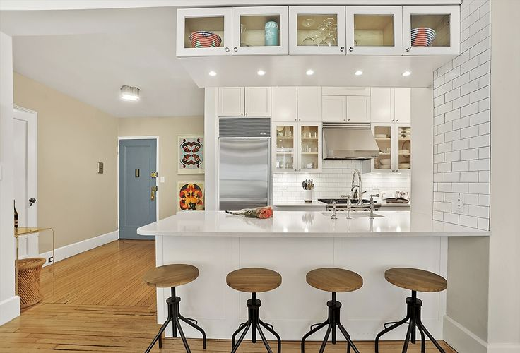 Contemporary Kitchen with Undercabinet lighting, Subway Tile, Inset cabinets, One-wall, specialty door, Flat panel cabinets