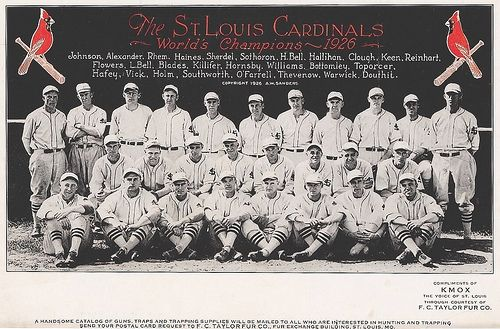 Image by Kopper World Champion 1926 St. Louis Cardinals team promotional photo.