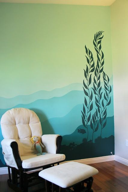Underwater Kelp Forest Mural On The Nursery Wall
