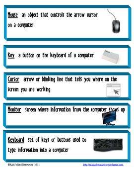 Like all subjects technology skills comes with a certain amount of vocabulary that students need to understand in order to complete assignments. These vocabulary cards give kid-friendly definitions and color pictures for more than 30 technology terms. These cards can be laminated and hung on a bulletin board, or placed on an O-ring at the computer to help guide students through technology directions.  $3.00