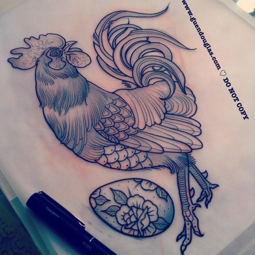 Really excited to do this rooster tomorrow, hope he goes for Dutch   Egg I added. @spidermurphystattoo #tattoo #tattoos
