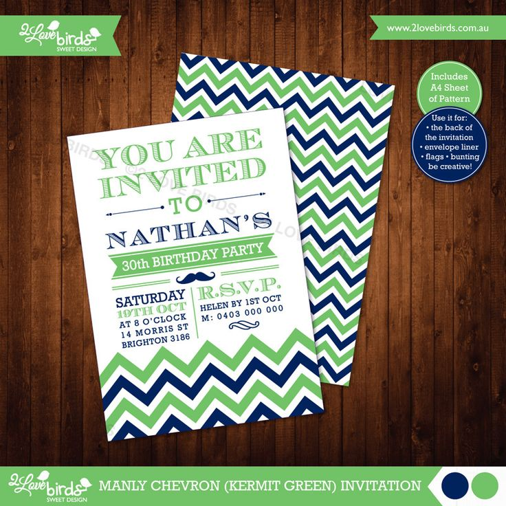 MANLY CHEVRON GREEN PRINTABLE INVITATION Personlised with your text! / DIY Print / No shipping! / A6 size / A4 sheet of pattern included #2loveBirds #printable #invitation #birthday #stationery #chevron #manly