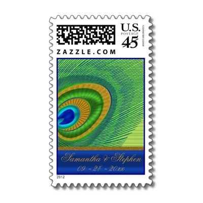 """Peacock Bride and Groom Postage Stamp  Digitally created peacock feather on a green background with a blue silk-look side band for your custom text. We have provided fields for bride and groom names and wedding date, but you can click """"customize"""" to add additional text or change font styles and sizes.: Peacock Feathers, Created Peacock, Peacock Bride, Font Styles, Additional Text, Change Font"""