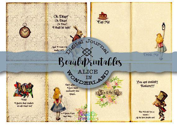 Digital Vintage Journal Alice in Wonderland Printable Journal