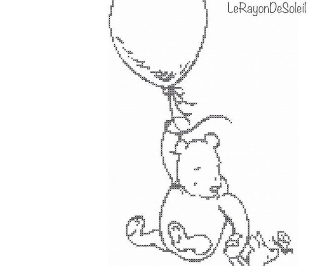 Cross stitch pattern Winnie the Pooh and Piglet balloon Disney - instant download PDF