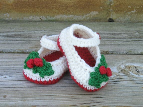Crochet Christmas Shoes Newborn Girl Shoes by DeesCozyCreations