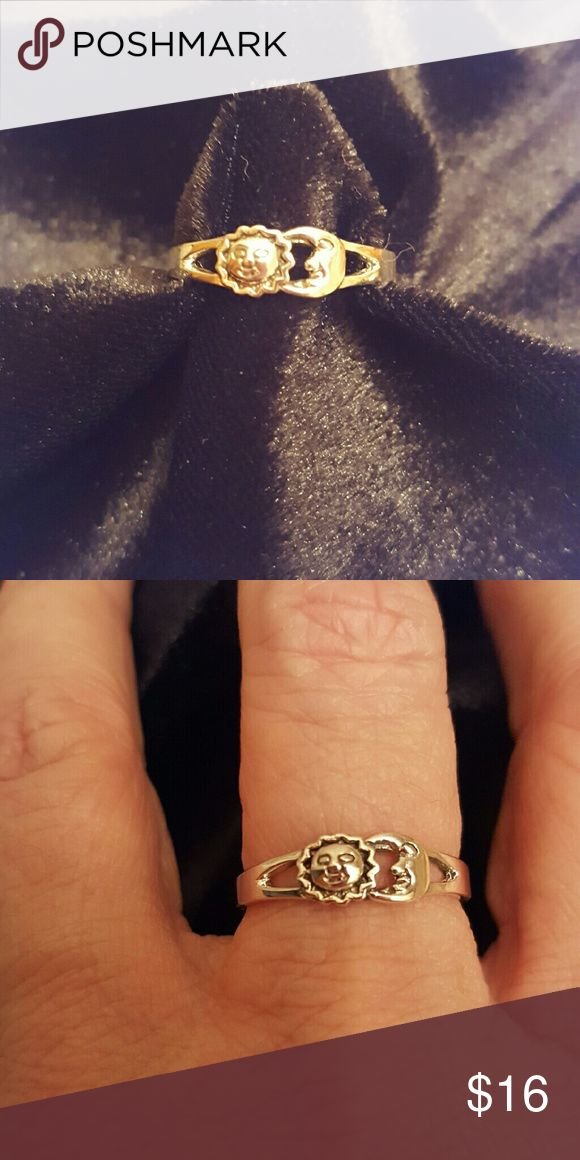 Sterling Silver Sun and Moon Ring Very pretty sterling silver ring with sun and moon, and a bit of intricate detailing.  Size 8.  No Trades, no PP, no sales on other sites. Please consider Poshmark's fee when making offers. Thanks. Jewelry Rings