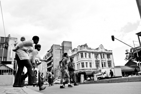 Crossing the road. Johannesburg CBD