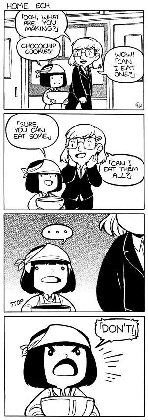 #104 - Home Ech eating cookies comic English