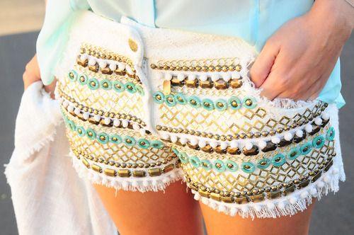 Embellished cutoffs.: Summer Fashion, White Shorts, Embellishments Shorts, Dreams Closet, Diy Fashion, Tribal Shorts, Cute Shorts, Studs Shorts, Summer Shorts