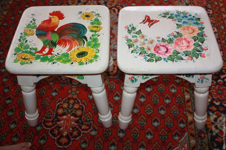 Купить Детские табуретки Летнее настроение - комбинированный, детская мебель, расписная мебель, расписная табуретка