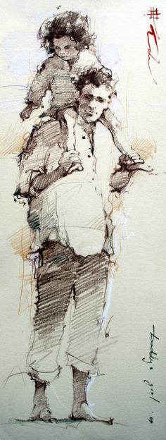 """Daddy's Girl"" drawing -- by Andre Kohn (Russian/American, b.1972)"