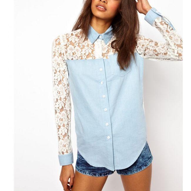 Sexy Lace Cutout Splicing Denim Long Sleeve #Shirt for #Women #FreeShipping -chemjoy.com