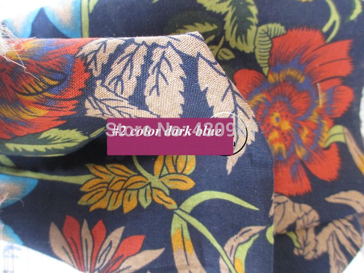 retro flowers print cotton fabric for dress ethnic sewing material handmade sofa cushion fabric linen/cotton fabric red blue