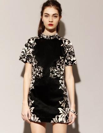 Pixie MarketMandarin Dresses, Pixie Marketing, Black Dresses, Damasks Prints, Fashion Feeding, Shakuhachi Mandarin, Gnarly Dresses, Eclectic Fashionista, Fashion Nuggets