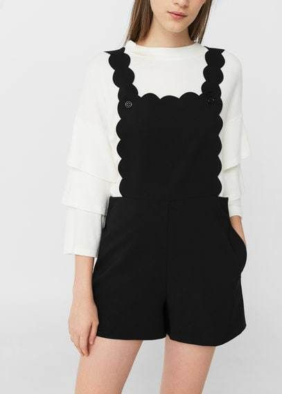 Mango Outlet Scalloped flowy pinafore dress