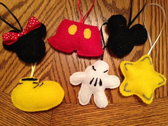 Felt Disney Christmas Ornaments set of 6 by SandysCorner on Etsy, $15.00
