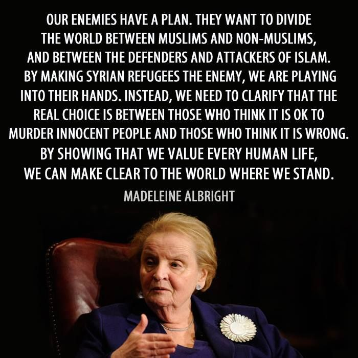 #PDMFNB #RefugeesWelcome Madeleine Albright's quote on the situation is extremely intelligent - and worth a look.