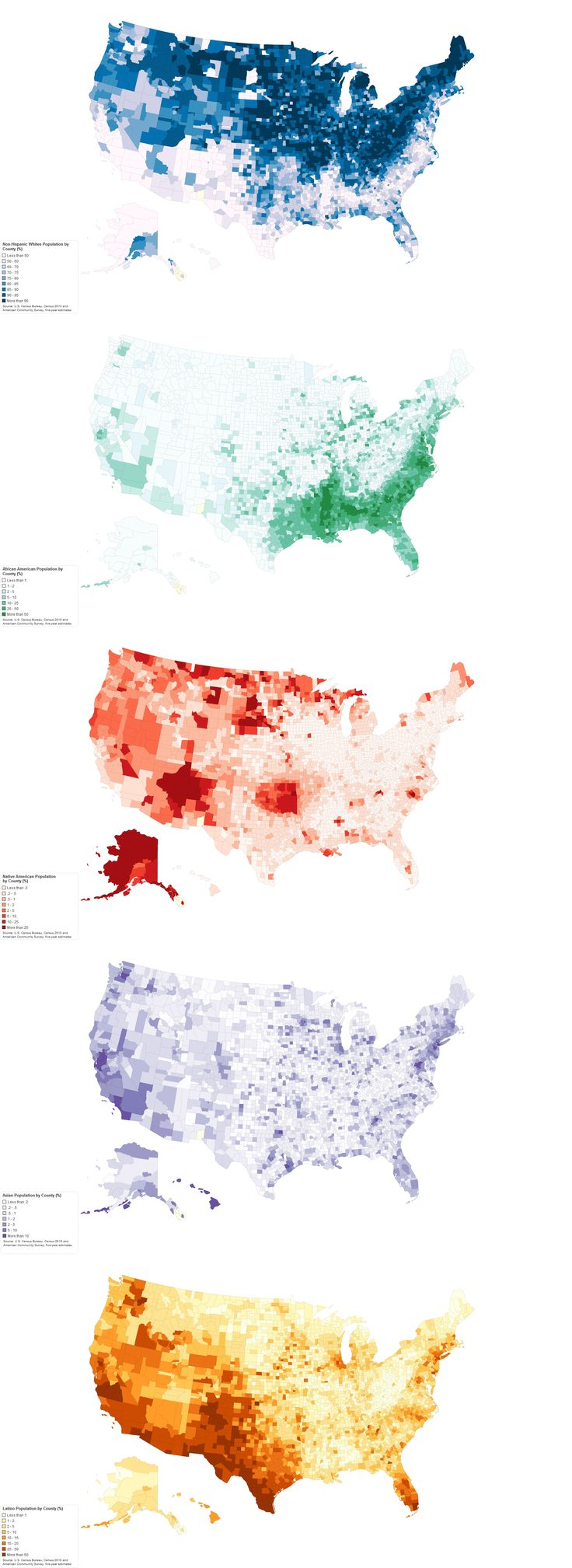 Population distribution by ethnicity in the United States.