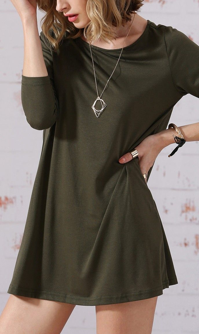 Such a comfortable long sleeve dress. Love it in army green!