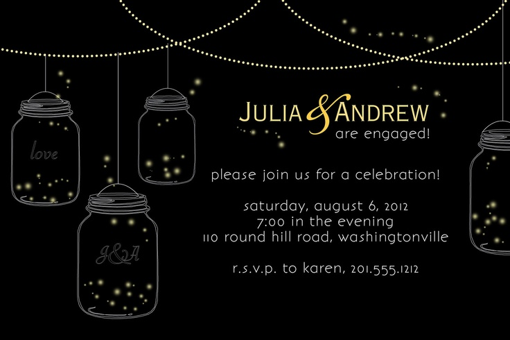 MASON JARS Fireflies Engagment Party/Bridal Shower Invitation - You Print. $15.00, via Etsy.