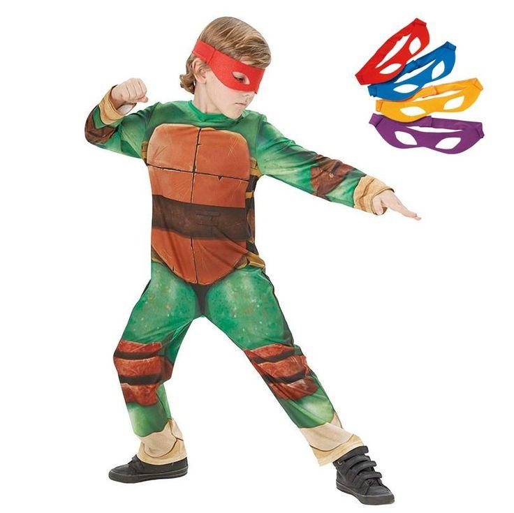 Teenage Mutant Ninja Turtle kostuum bestaande uit een jumpsuit en een setje van 4 gekleurde oogmaskers in de kleuren rood,blauw,geel en paars. Afmeting: geschikt voor kinderen van 7 - 8 jaar - Verkleedset Ninja Turtle - L