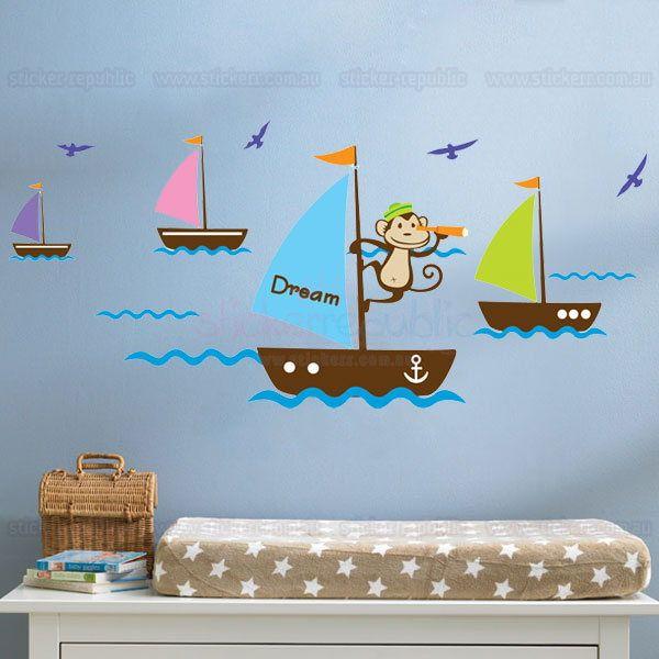 Cheeky sailor monkey on sailing boat