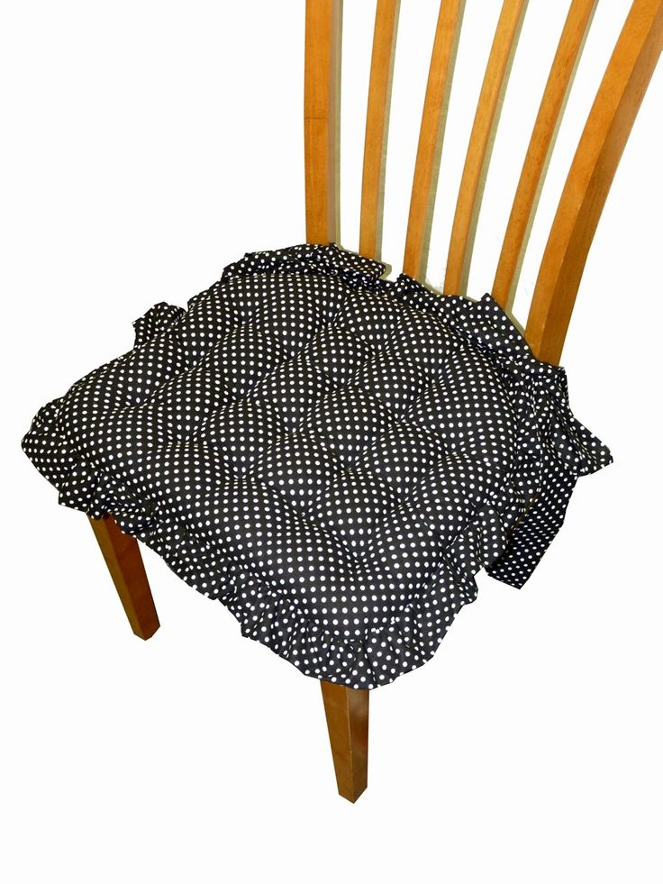 Dottie Black & White Ruffle - This darling chair pad is made in black and white polka dot fabric with ruffles and bows, reversible, machine washable, latex foam fill. Buy one get one free at Chair Pads Galore and More http://shop.pe/71ZXP with coupon code BOGOFTW5 5.16.25 - 5.27.16 or while supplies last. #BOGO