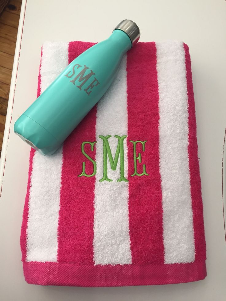 monogrammed su0027well bottle and monogrammed beach towel graduation gift - Monogrammed Beach Towels
