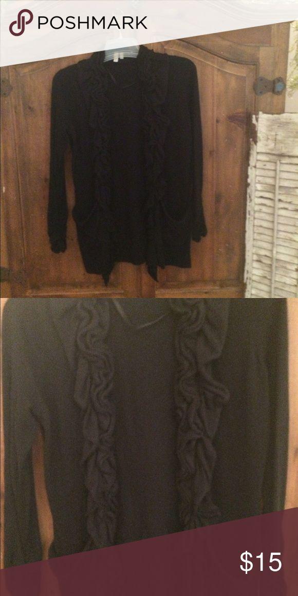 Black Ruffle cardigan//perfect for fall//🚫trades Black Ruffle Sweater//Sz medium//no trades// make an offer 💕 Sweaters Cardigans