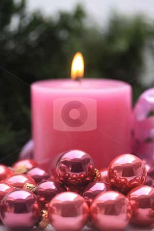 Pink Christmas- Pink candle and pink ornaments
