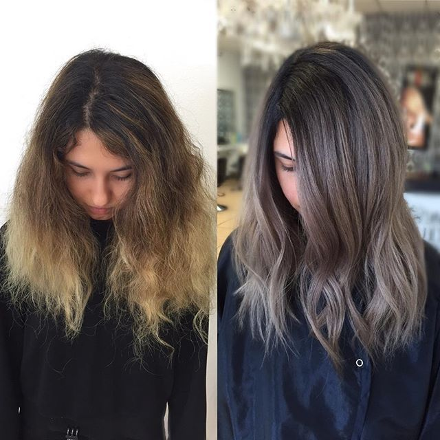 Less brass, more ash.   Transformation using @fanola_usa and @olaplex for hair…                                                                                                                                                                                 More